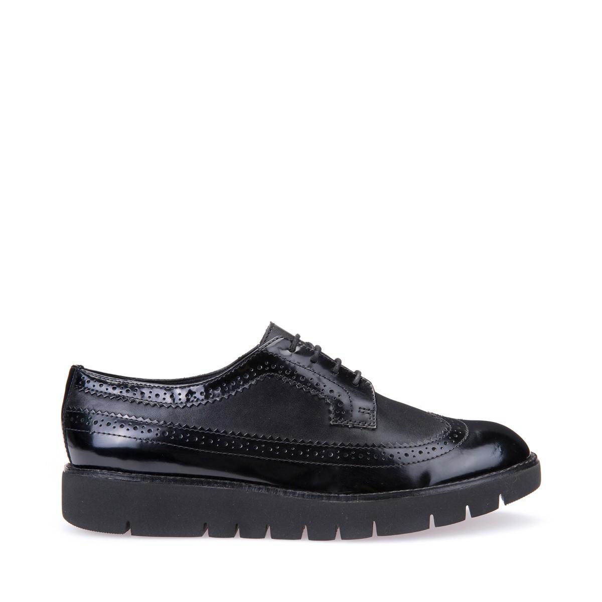 Geox scarpe da donna in pelle e vernice nero leggere