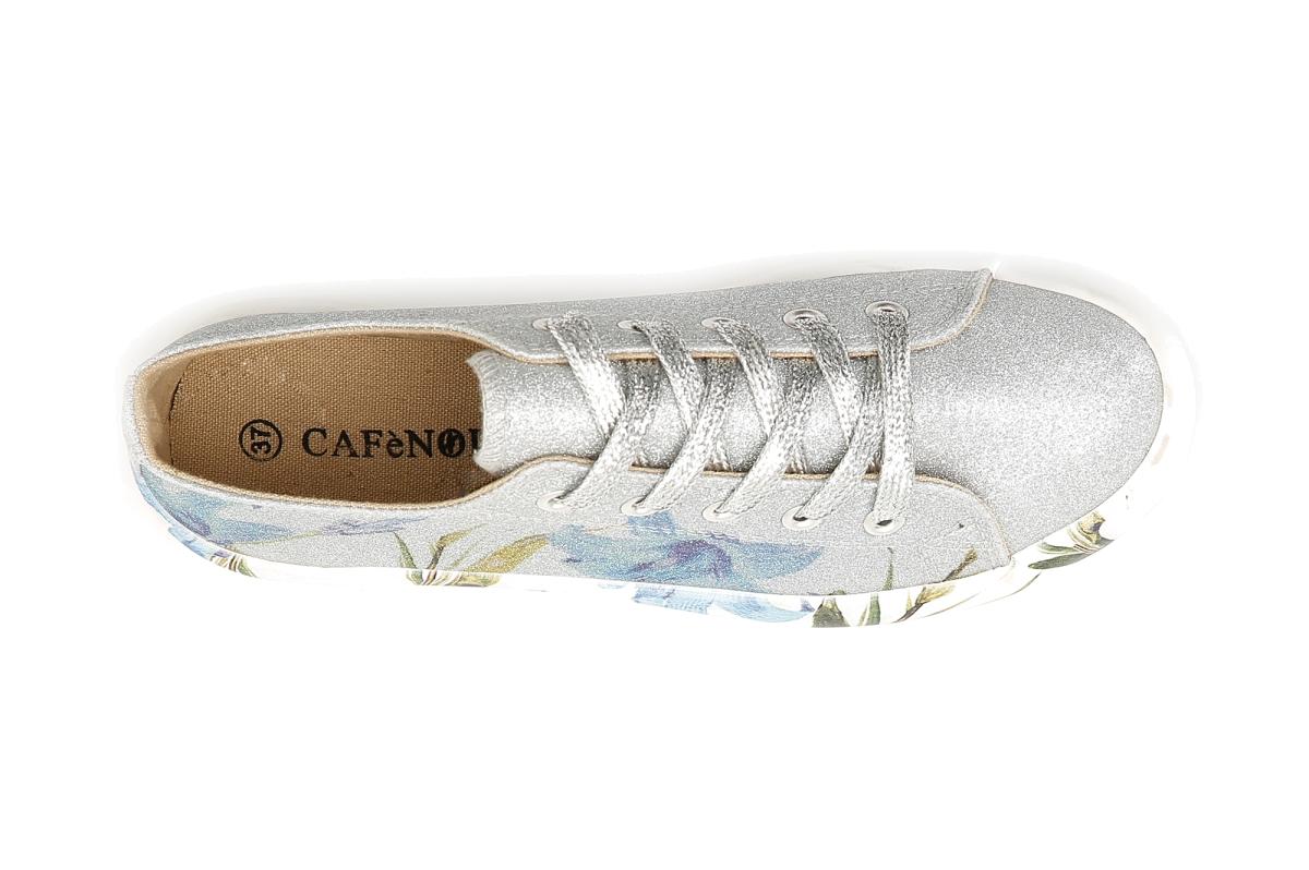 Sneaker Donna Cafè Noir Glitterate con Tattoo Fiore Argento